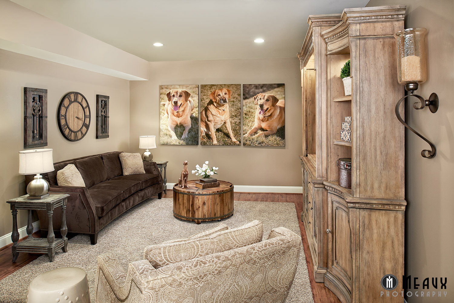 the clients wanted to also use the basement for relaxation and family
