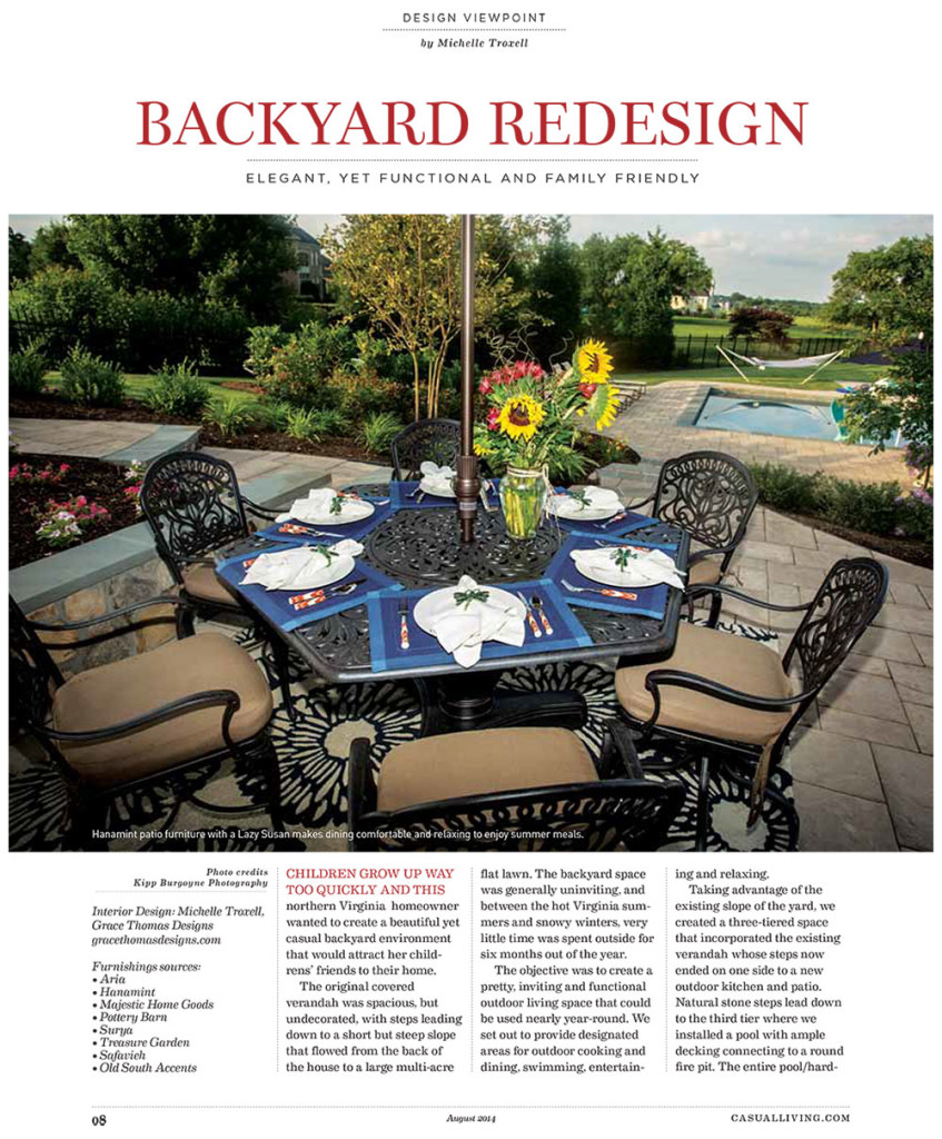 Grace Thomas Designs Featured in August 2014 Publication of Casual Living